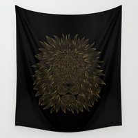 lannister Wall Tapestries featuring lion / black by Anna Grunduls