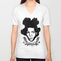 basquiat V-neck T-shirts featuring Basquiat by CLSNYC