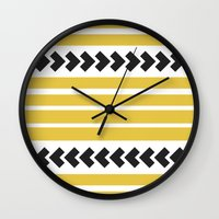 striped Wall Clocks featuring Striped by Mariana Nabas