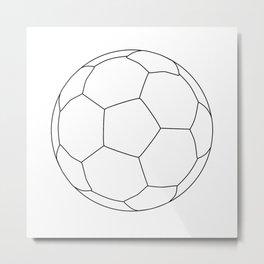 Soccer Ball Over White Metal Print