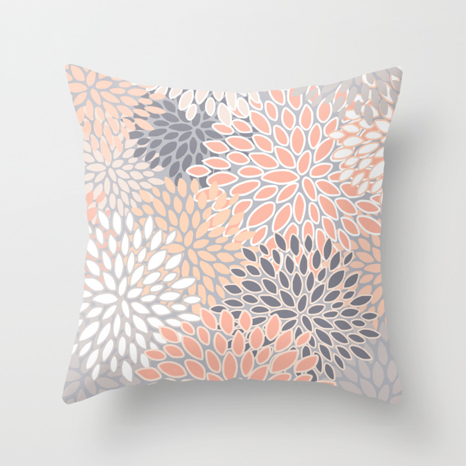 Flowers Abstract Print Coral Peach Gray Throw Pillow By Meganmorrisart Society6