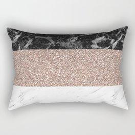 Marble stripes - Deauville rose gold Rectangular Pillow