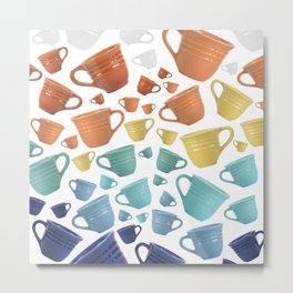 Pacific Pottery Teacups - White Metal Print