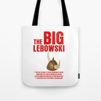 lebowski Tote Bags featuring BIG LEBOWSKI by FunnyFaceArt