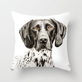German Shorthaired Pointer Drawing Throw Pillow