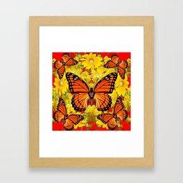 VICEROY BUTTERFLIES & YELLOW FLOWERS RED ART Framed Art Print
