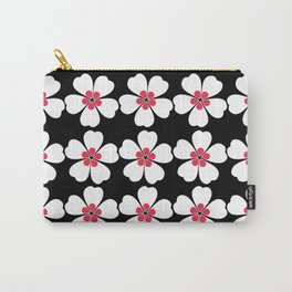 Japanese Sakura Floral Pattern - Black Carry-All Pouch