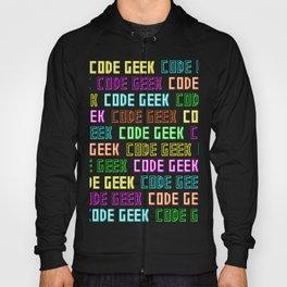Code Geek (Black and White) Retro Neon Font Repeat Design Hoody