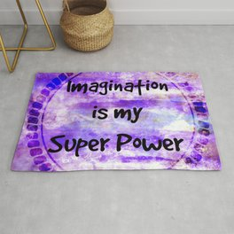 IMAGINATION IS MY SUPER POWER Inspirational Fine Art Painting Typography Lavender Purple Clouds Rug