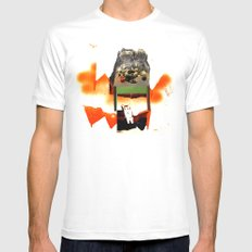 Supper with Cat White Mens Fitted Tee MEDIUM