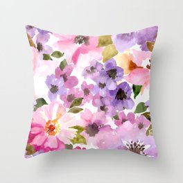 Pink Purple Watercolor Flowers Throw Pillow