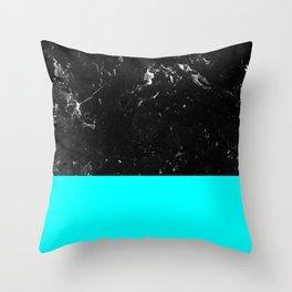 Aqua Blue Meets Black Marble #1 #decor #art #society6 Throw Pillow
