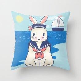 Sailor Bunny At The Beach Throw Pillow