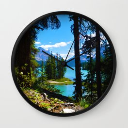 Spirit Island & Maligne Lake in Jasper National Park, Canada Wall Clock