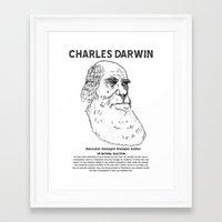 darwin Framed Art Prints featuring Charles Darwin by Ron (Rockett) Trickett
