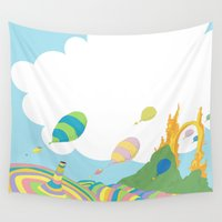 dr seuss Wall Tapestries featuring oh the places you'll go .. dr seuss by studiomarshallarts
