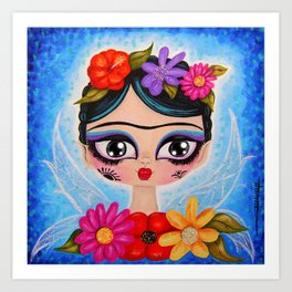 Little Fairy Flowery Frida Art Print