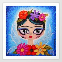 Little Fairy Flowery Frida Art Print