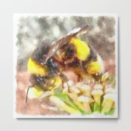 Busy Busy Busy Watercolor Metal Print