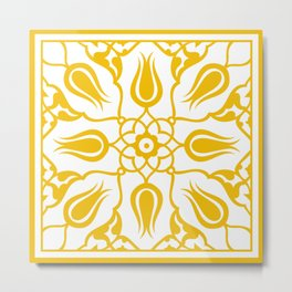 Yellow Turkish Traditional Floral Tile Art Metal Print