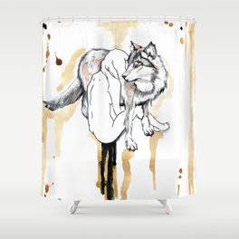 The Girl And The Wolf Shower Curtain