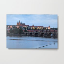 Prague cityscape with Prague castle and Charles bridge Metal Print