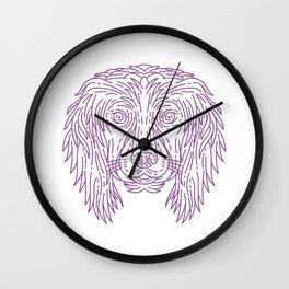 English Cocker Spaniel Dog Head Mono Line Wall Clock