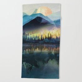 Mountain Lake Under Sunrise Beach Towel