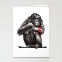 ape Stationery Cards featuring Genius Ape by beart24