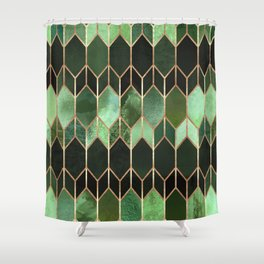 Stained Glass 5 - Forest Green Shower Curtain