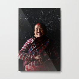 Devotee on black | Faces of Nepal Metal Print