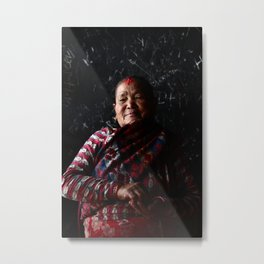 Devotee on black   Faces of Nepal Metal Print