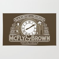 marty mcfly Area & Throw Rugs featuring McFly & Brown Blacksmiths by Doodle Dojo