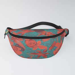 Linocut look in blue with roses Fanny Pack