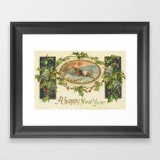 A Happy Vintage New Year Framed Art Print