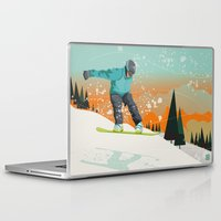 snowboard Laptop & iPad Skins featuring Snowboard Jump by Park City Posters