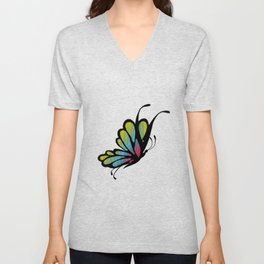 Mosaic Butterfly on Emerald Green Unisex V-Neck