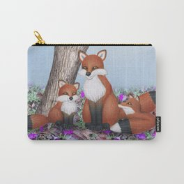 fox, cubs and tufted titmice Carry-All Pouch