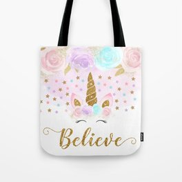 Pink & Gold Floral Unicorn Tote Bag