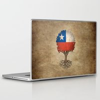 chile Laptop & iPad Skins featuring Vintage Tree of Life with Flag of Chile by Jeff Bartels