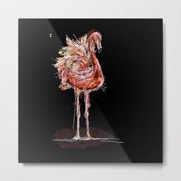 Flamingo in black Metal Print