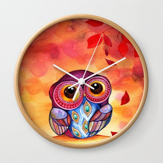 Owl's First Fall Leaf Wall Clock