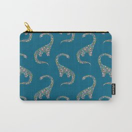 Floral Brontosaurus on Blue Carry-All Pouch