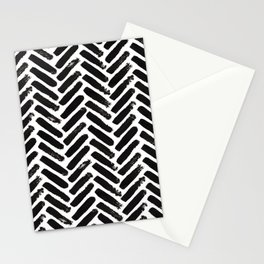 Painted Herringbone Stripe \\ Black & White Stationery Cards