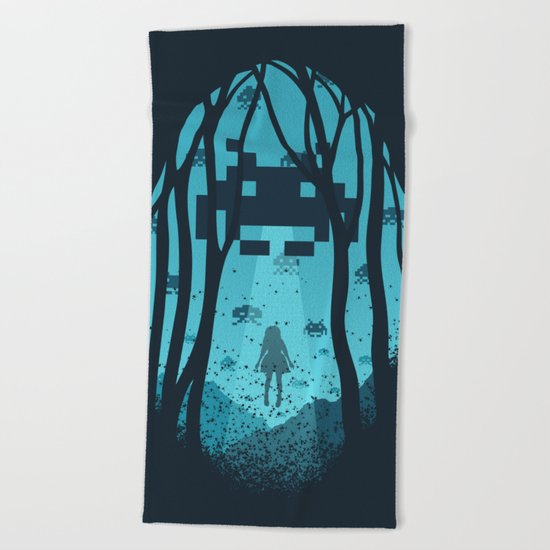 8 Bit Invasion Beach Towel