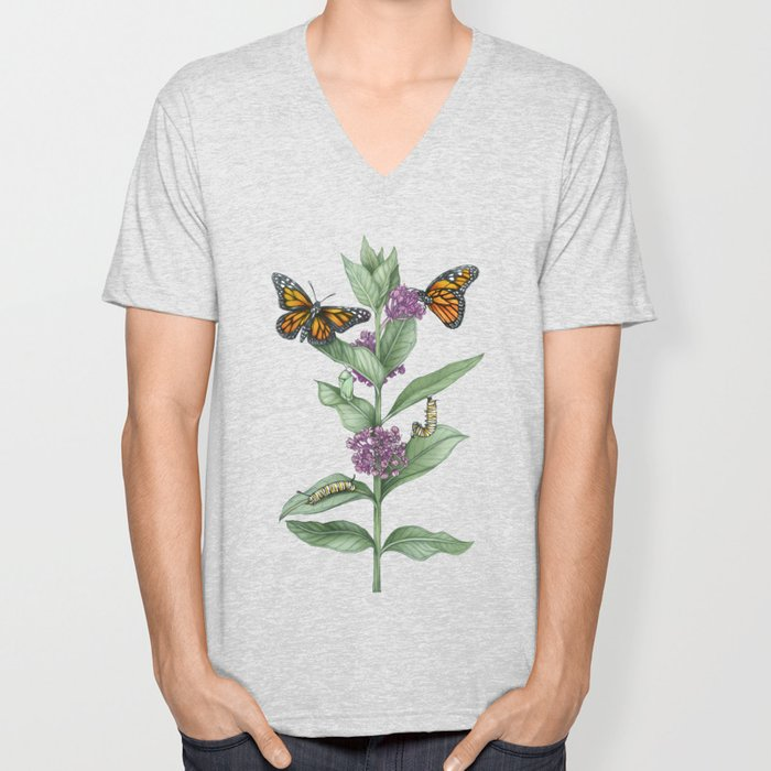 Monarch Butterfly Life Cycle Unisex V-Neck