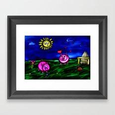 Pig love-story Framed Art Print