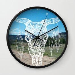 New Mexico Bull Skull Wall Clock