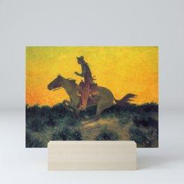 Against the Sunset - cowboy on horseback Mini Art Print