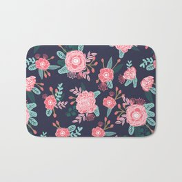 Peony floral bouquet navy pink bright happy flowers dorm college office decor must have pattern Bath Mat